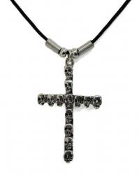 Anhänger Kreuz mit Totenköpfen  Halskette