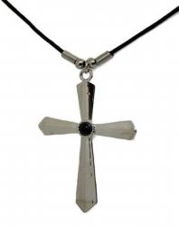 Anhänger Kreuz mit schwarzem Stein  Halskette