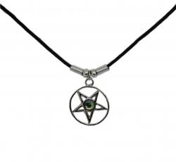 Anhänger Pentagram mit farbigem Stein  Halskette