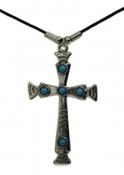 Anhänger Kreuz mit türkisen Steinen  Halskette