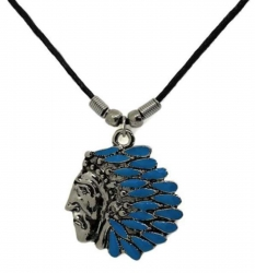 Anhänger Indianer mit türkisen Steinen  Halskette