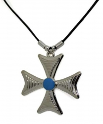 Anhänger Breites Kreuz mit türkisem Stein  Halskette