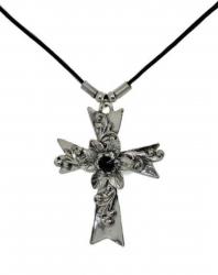 Anhänger Kreuz mit Blumen  Halskette