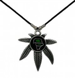 Anhänger Hanfblatt mit Afrika  Halskette