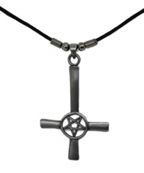 Upside Down Cross with Pentagram Pendant  Necklace