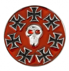 Iron Cross Skull Red Buckle