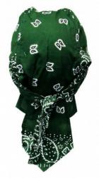 Rocker Bandana Cap - Grün Weiß Paisley