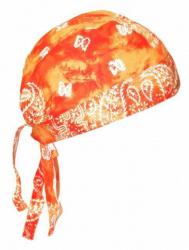 Biker Bandana Cap - Paisley Orange Batik