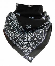 Bandana Kopftuch Paisley Schwarz Weiß