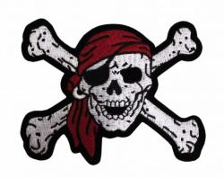 Aufnäher Piraten Totenkopf mit Augenklappe