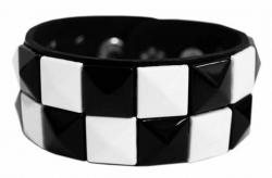 Rocker Armband Pyramidennieten Schwarz & Weiß