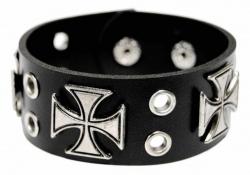 Rocker Armband Schwarz Kreuznieten