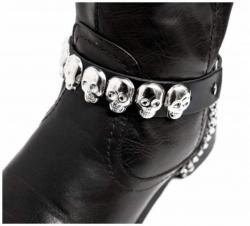Schwarze Stiefelbänder mit Totenkopfnieten