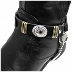 Schwarze Stiefelbänder mit Conchos