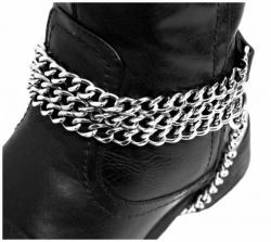 Schwarze Stiefelbänder mit 3 reihiger Kette