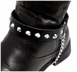 Schwarze Stiefelbänder mit Spitznieten