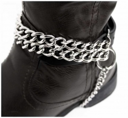 Schwarze Stiefelbänder mit 2 reihiger Kette