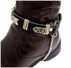 Schwarze Stiefelbänder mit Nieten Design