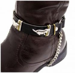 Schwarze Stiefelbänder mit Hundenieten