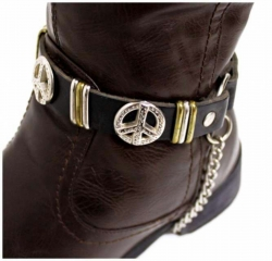 Schwarze Stiefelbänder mit Peacenieten