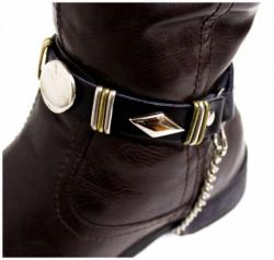 Schwarze Stiefelbänder mit Engelnieten