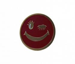 Roter Smiley Pin