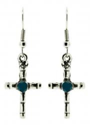 Ohrhänger Kreuz Blauer Stein