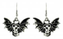 Drop Earrings Flying Skull