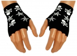 Schwarze Handstulpen Stars & Skulls | 002