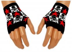 Schwarze Handstulpen Red Stars & Skulls | 003