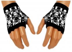 Schwarze Handstulpen Black & White Skulls | 007