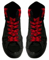 Schnürsenkel Rot mit Schwarzen Totenköpfen