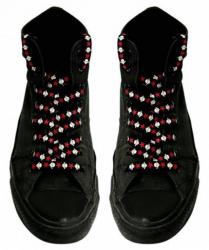 Schnürsenkel Weiße Totenköpfe Rote Sterne