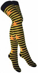 Overknee Socken Grün Geringelt mit orangenen Sternen