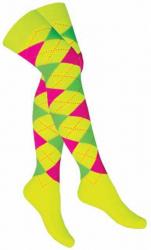 Overknee Socken Gelb Mehrfarbige Karos