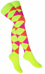 Overknee Socken Mehrfarbige Karos Gelb