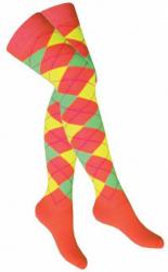 Overknee Socken Orange Mehrfarbige Karos