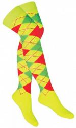 Overknee Socken Gelb mit mehrfarbigen Karos