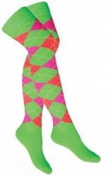 Overknee Socken Grün mit mehrfarbigen Karos
