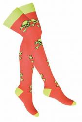 Overknee Socken Gelbe Totenköpfe