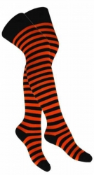 Overknee Socken Orange Geringelt