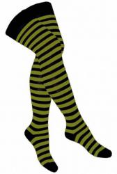 Overknee Socken Schwarz Olivgrün Geringelt