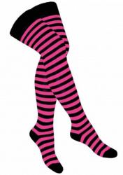 Overknee Socken Pink Geringelt