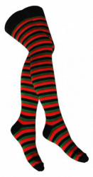 Overknee Socken Rot Grün Geringelt