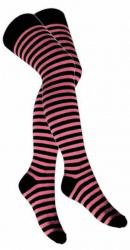 Overknee Socken Rosa Geringelt
