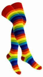 Overknee Socken Rot Mehrfarbig Geringelt