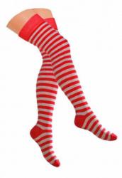 Overknee Socken Hellrot & Grau
