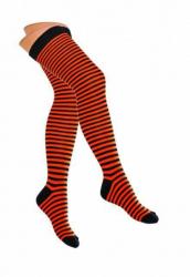 Overknee Socken Neonorange & Schwarze Nadelstreifen