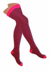 Overknee Socken Neonpink & Schwarz Nadelstreifen