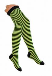 Overknee Socken Neongelb & Schwarz Nadelstreifen